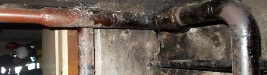 Efekt jednego z pożarów sadzy (fot. KP PSP Pszczyna)