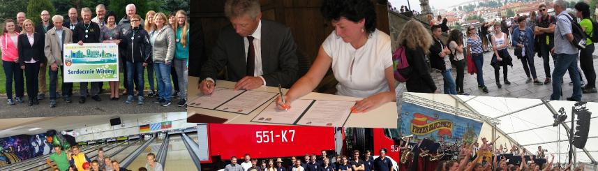 Grafika przedstawia kolaż zdjęć ze spotkań przedstawicieli gmin Goczałkowice-Zdrój i Plossberg