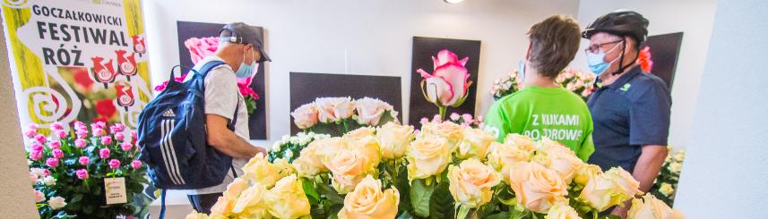 Zdjęcie przedstawia wystawę róż na Starym Dworcu - na pierwszym planie róże żółte, w tle odwiedzający wystawę oraz inne rodzaje róż